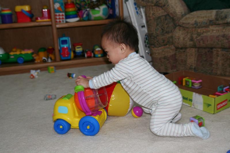 Nicholas likes the dump truck!