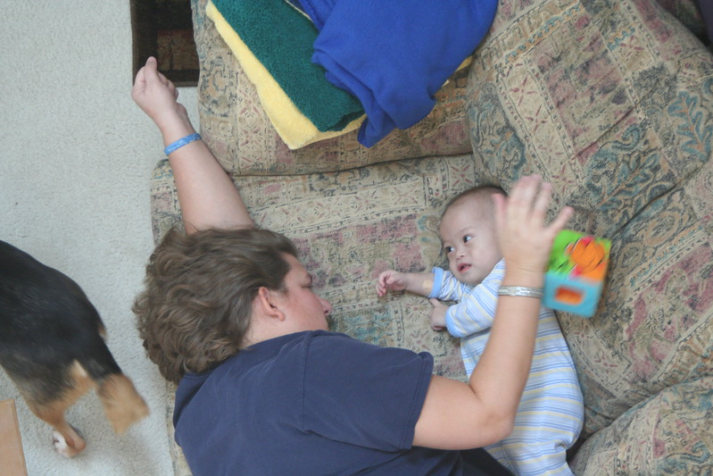 Playing with Matthew.