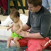 Matthew and Jayme getting into the pool.
