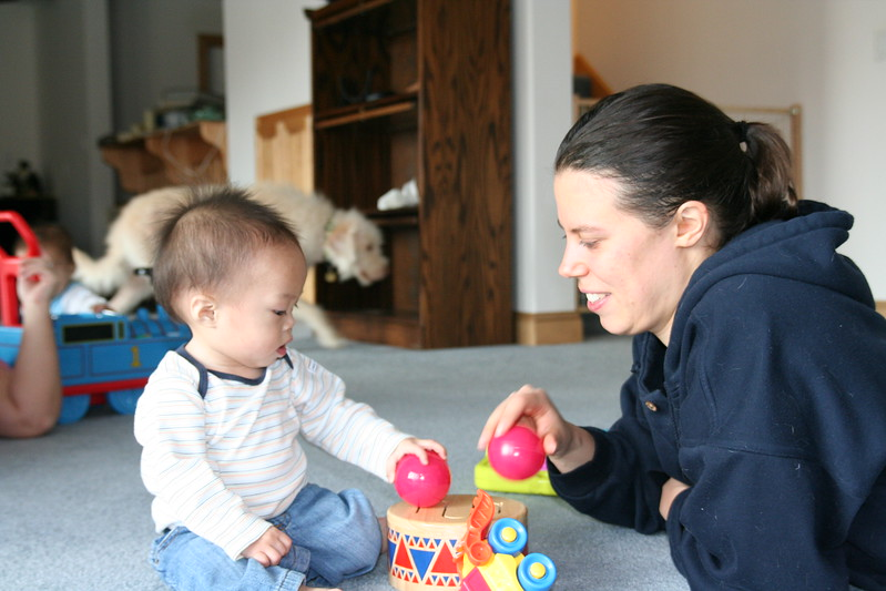 Nicholas playing with Aunt Kate.