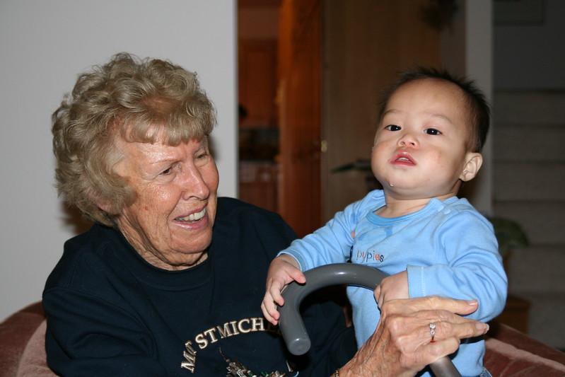 Nicholas with GG.  (GG is Great-Grandma.)