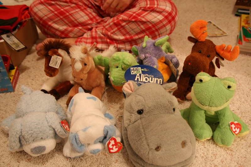 The stuffed animal menagerie.
