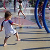 At the splash park.
