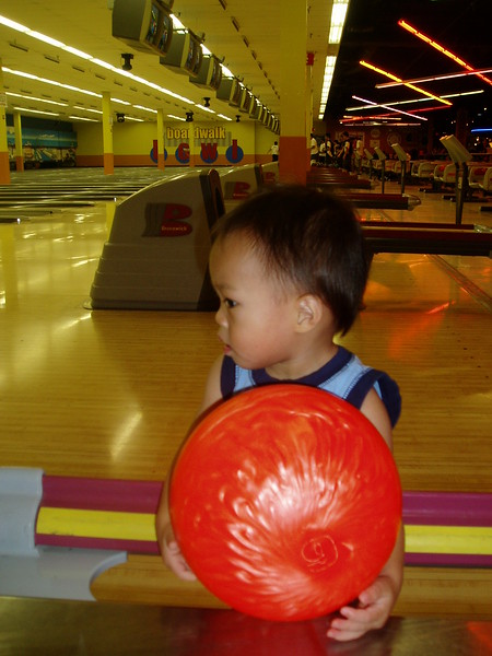 Nicholas trying to figure out this bowling thing.