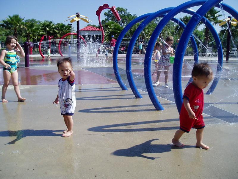 At the splash park.