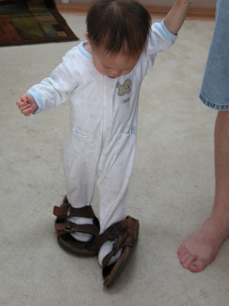 Matthew in Daddy's shoes.