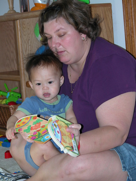 Matthew's story time with Mommie.
