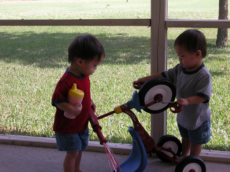 Teamed up against the tricycle.