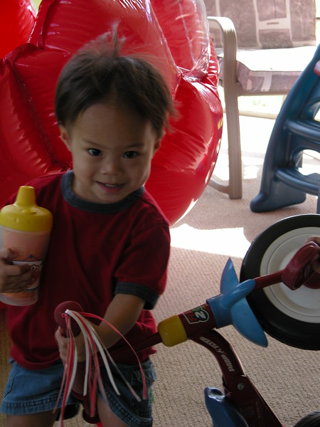 Nicholas and the tricycle.