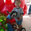 Matthew attacking the tricycle.
