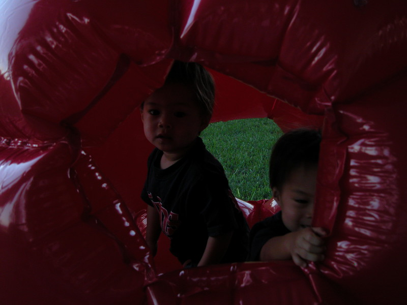 Playing in the mega-ball.