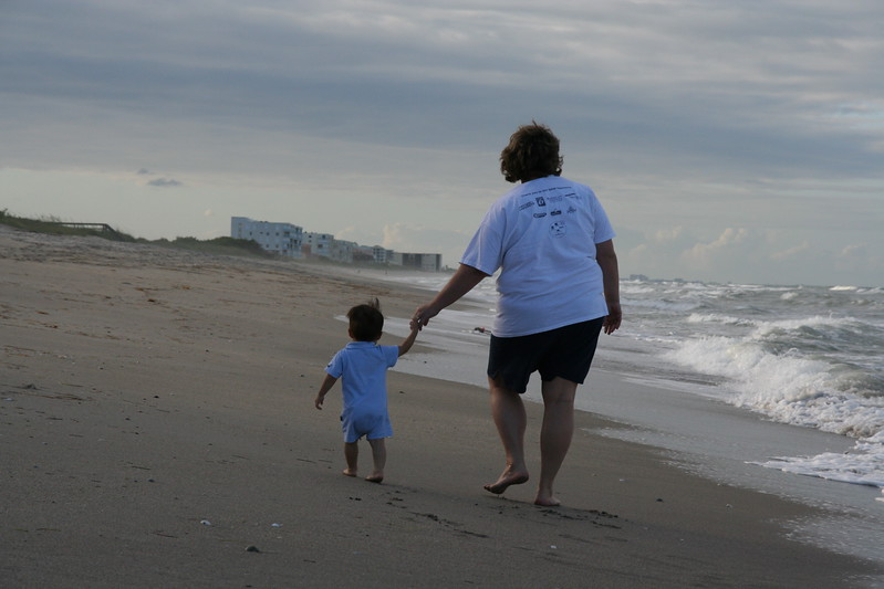 Our first walk on the beach.