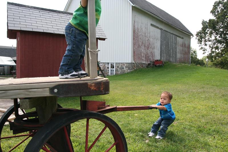 Matthew pulling the wagon.