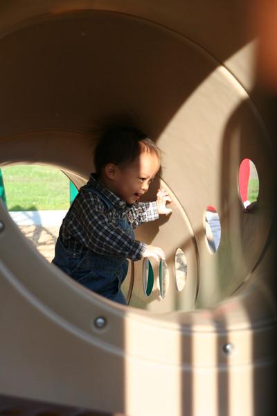 Matthew in the big tube.
