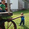 Matthew pulling the wagon.