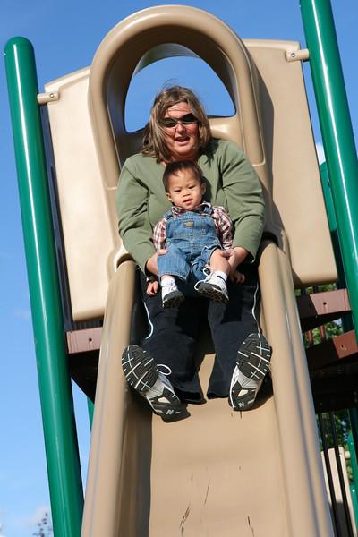 Nicholas down the big slide!