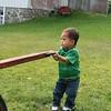 Nicholas pulling the wagon.