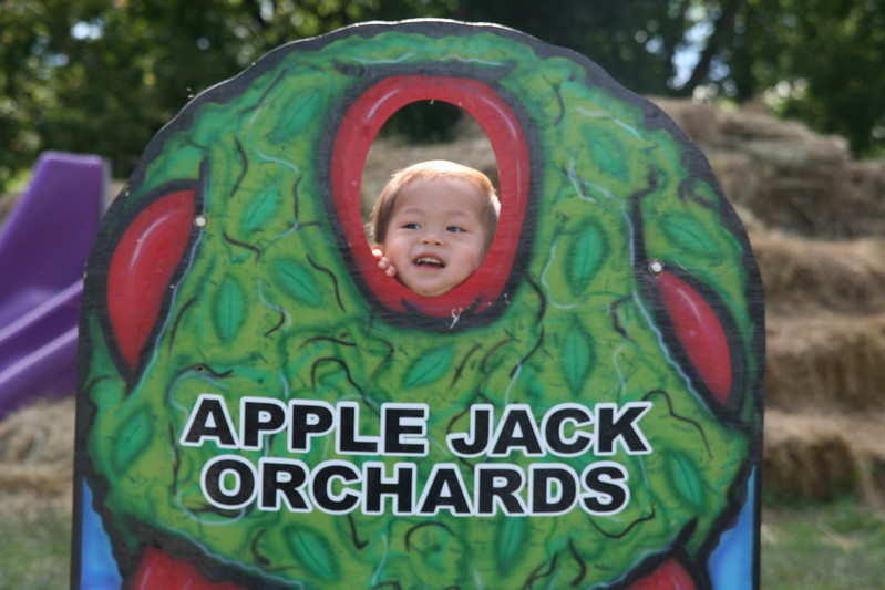Matthew hamming it up back at the orchard!  (His mom was behind holding him up.)