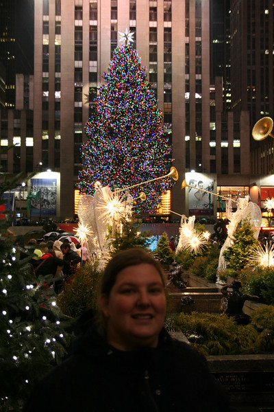 Shannon in front of the Christmas tree at Rockefeller Center.
