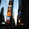 Times Square at sunset.