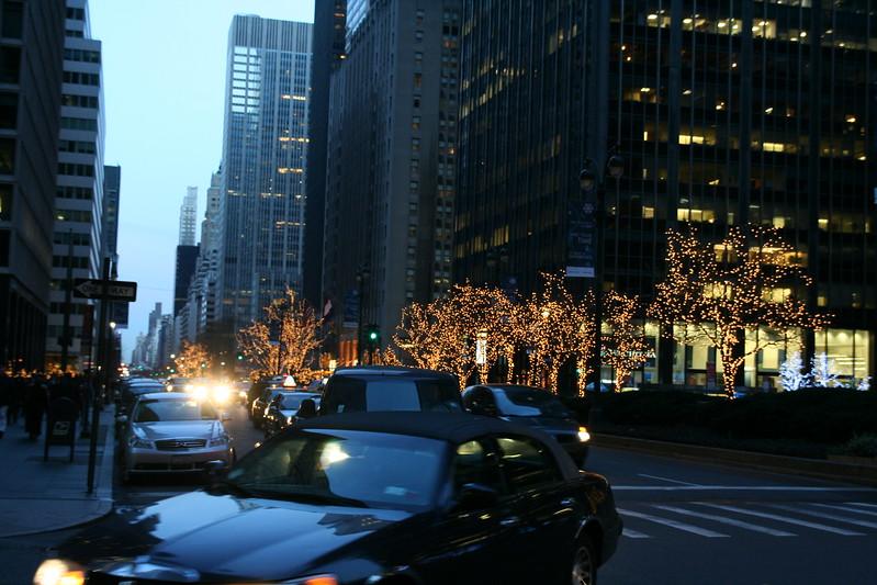 Park Avenue at dusk.
