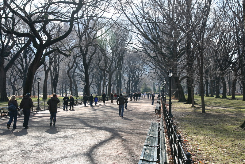 Foot traffic on the mall in Central park.