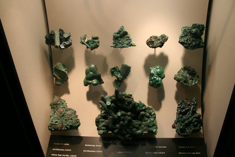 A Malachite sample in the Gallery of Gems and Minerals at the American Museum of Natural History.