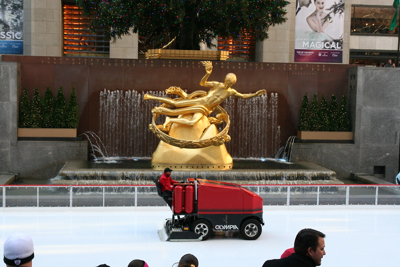 What a view: the rink, the statue, and the Zamboni?  :)