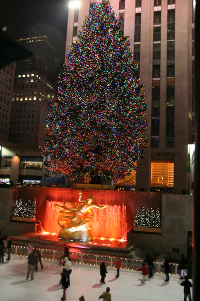 The tree and rink at Rockefeller Center.