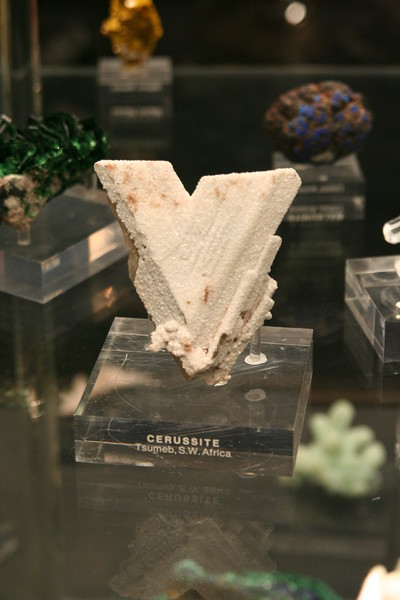 The Cerussite sample in the Gallery of Gems and Minerals at the American Museum of Natural History.