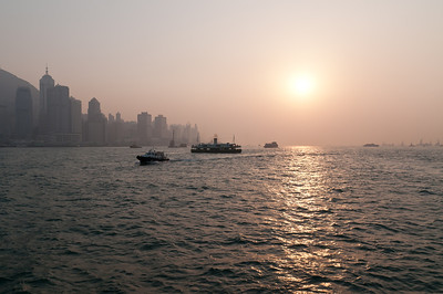 Victoria harbour at sunset