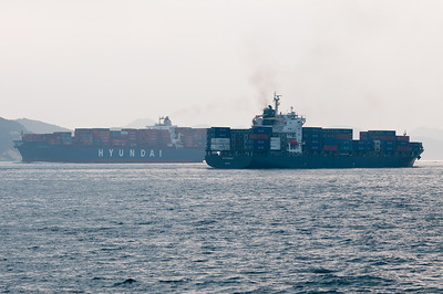 A never ending flow of container vessels passing Hong Kong