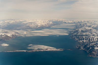 Spitsbergen from the air just before landing at Longyearbyen