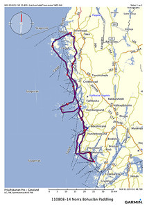 Our track with red waypoints for night stops and blue for day stops