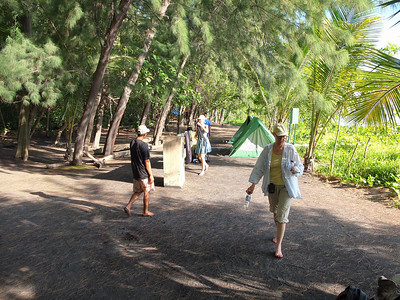 Tent camp on the black beach of Anak Krakatau