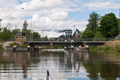 "One of only two only road bridges across Hjälmare Kanal. 2013-06-04 15:44, 59°18'48"" N 15°58'36"" E"