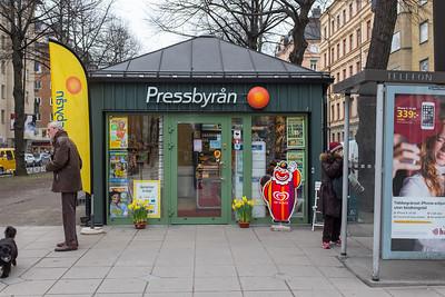 Outside Pressbyrån, Stockholm, March 2016