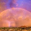 Rainbow and lightning at Texas Canyon