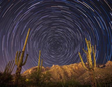 Star trails at Finger Rock Trailhead