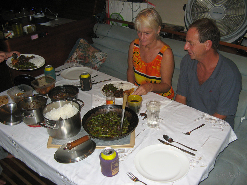 IMG_1339.JPG<br /> Cruising Colombia: Cartagena<br /> Hans and Annelies visiting Jedi and good Dutch Indonesian food time again ;-)