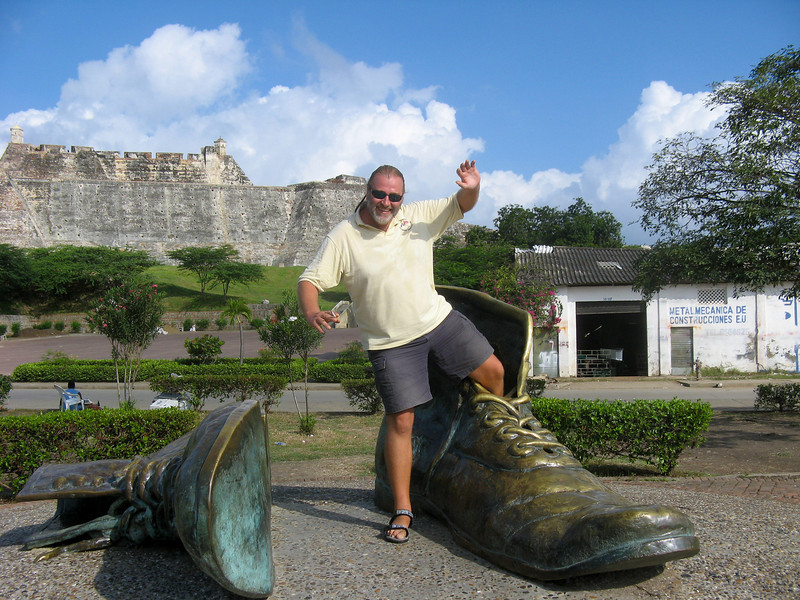 IMG_1263.JPG<br /> Cruising Colombia: Cartagena<br /> Nick, these shoes are too big for even you. Notice Castillo San Felipe in the background.
