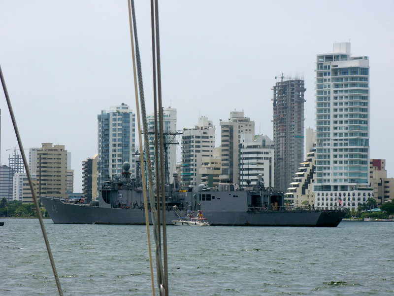 IMG_1248.JPG<br /> Cruising Colombia: Cartagena<br /> At anchor off Manga island and under the protective umbrella from this US navy ship.