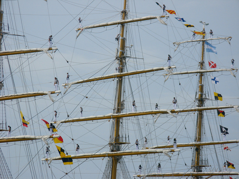 IMG_1333.JPG<br /> Cruising Colombia: Cartagena<br /> This Argentine naval training vessel came sailing into Cartagena one day. Look at all those sailors standing on the yards. I hope they have no fear of heights.