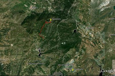 En esta otra captura de pantalla se puede ver la situación de la ruta con respecto a San Lorenzo de El Escoria y El Escorial, que es donde vivimos.  In this other screen capture you can see the location of the route with regard to San Lorenzo de El Escorial and El Escorial, the towns where we live.