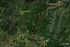 """Esta captura de pantalla de Google Earth muestra la ruta (15 Km ida y vuelta). Aparcamos los coches junto al camping de Peguerinos y, como digo en la descripción de la galería, pensábamos ir a Las Lagunillas. Pero al llegar al Collado de la Gargantilla cambiamos de opinión y optamos por <a href=""""http://es.wikipedia.org/wiki/Cueva_Valiente"""">Cueva Valiente</a>.  This screen capture from Google Earth shows the route (15 Km round trip). We parked our cars next to the Peguerinos camping and, as I say in the gallery description, our idea was to go to Las Lagunillas. But when we reached 'Collado de la Gargantilla' we changed our mind and we opted for <a href=""""http://es.wikipedia.org/wiki/Cueva_Valiente"""">Cueva Valiente</a>."""