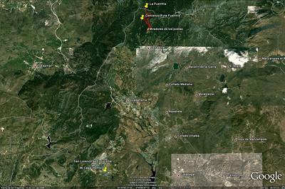 Situación de la ruta respecto a El Escorial, donde vivimos los tres hermanos.