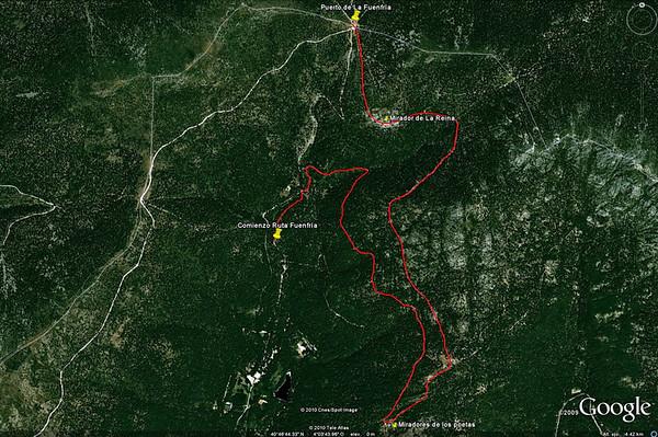 La ruta vista en Google Earth.