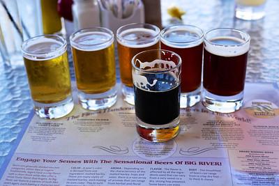 Beer flight at Big River Brewing Works