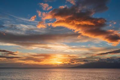 Sunset over Moloka'i Island