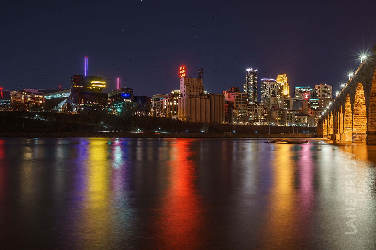 Mississippi Water's Edge and the Minneapolis Skyline